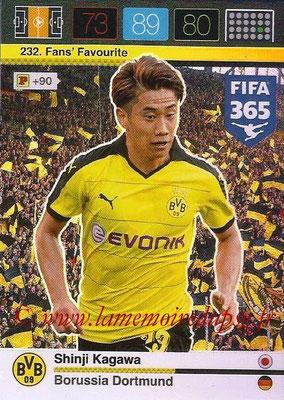 2015-16 - Panini Adrenalyn XL FIFA 365 - N° 232 - Shinji KAGAWA (Borussia Dortmund) (Fans' Favourite)