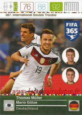 2015-16 - Panini Adrenalyn XL FIFA 365 - N° 367 - Thomas MÜLLER + Mario GÖTZE (Allemagne) (International Double Trouble)