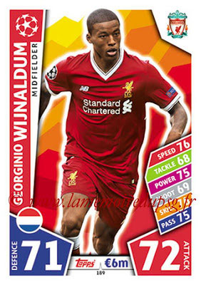 2017-18 - Topps UEFA Champions League Match Attax - N° 189 - Georginio WIJNALDUM (Liverpool FC)