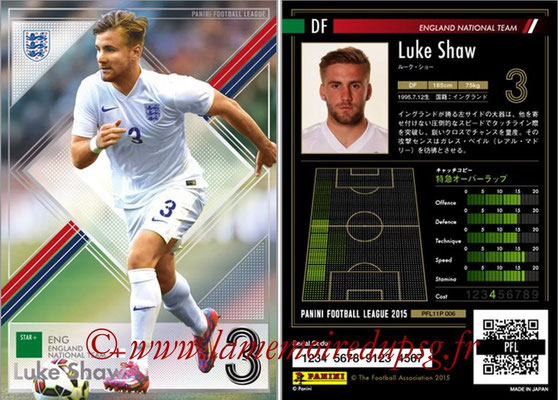 Panini Football League 2015 - PFL11P - N° 006 - Luke SHAW (Angleterre) (Star +)
