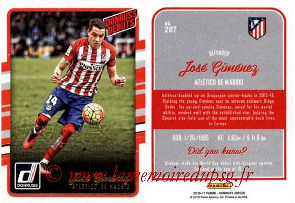 2016 - Panini Donruss Cards - N° 207 - Jose GIMENEZ (Atletico de Madrid) (Donruss Debuts)