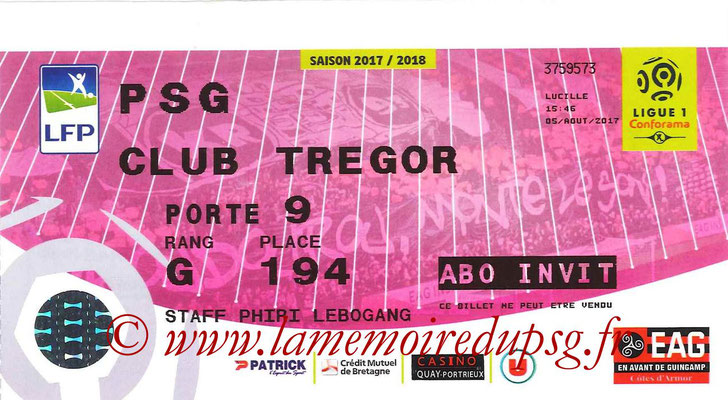 Tickets  Guingamp-PSG  2017-18