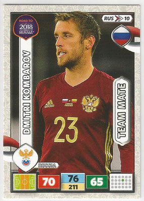 2018 - Panini Road to FIFA World Cup Russia Adrenalyn XL - N° RUS10 - Dmitri KOMBAROV (Russie)