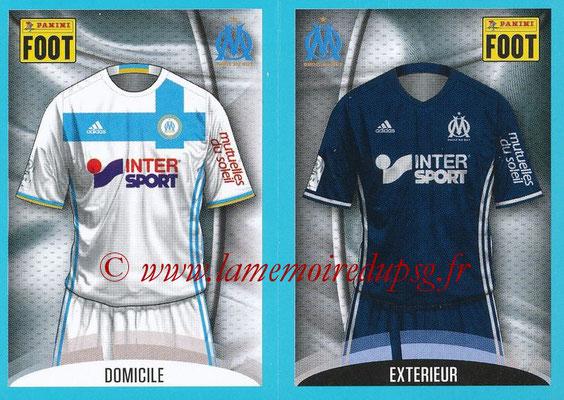 2016-17 - Panini Ligue 1 Stickers - N° 384 + 385 - Maillot Domicile + Extérieur (Marseille)