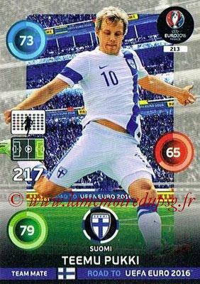 Panini Road to Euro 2016 Cards - N° 213 - Teemu PUKKI (Finlande)