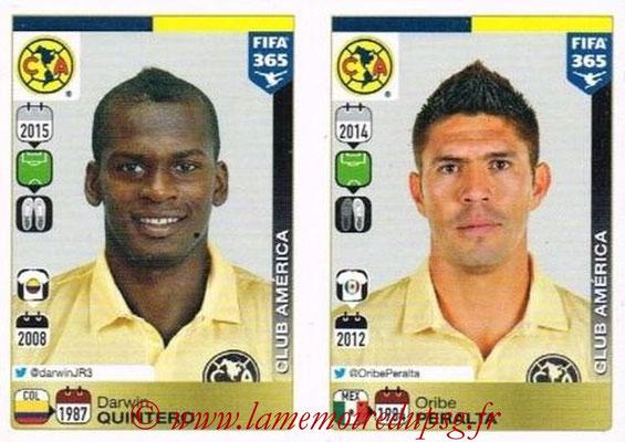 2015-16 - Panini FIFA 365 Stickers - N° 639-640 - Darwin QUINTERO + Oribe PERALTA (Club America)