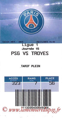 Tickets  PSG-Troyes  2015-16