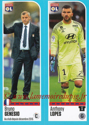 2016-17 - Panini Ligue 1 Stickers - N° 344 + 345 - Bruno GENESIO + Anthony LOPES (Lyon)