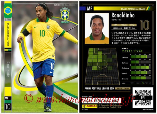 Panini Football League 2014 - PFL07 - N° 117 - RONALDINHO (Bresil) (Star)