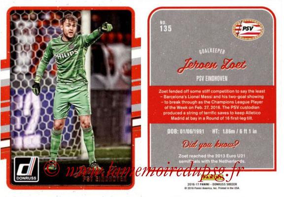 2016 - Panini Donruss Cards - N° 135 - Jeroen ZOET (PSV Eindhoven)