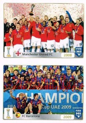 2015-16 - Panini FIFA 365 Stickers - N° 021-022 - Manchester United FC (2011) + FC Barcelone (2009) (FIFA Club World Cup)
