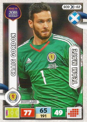 2018 - Panini Road to FIFA World Cup Russia Adrenalyn XL - N° SCO02 - Craig GORDON (Ecosse) (UK Version)