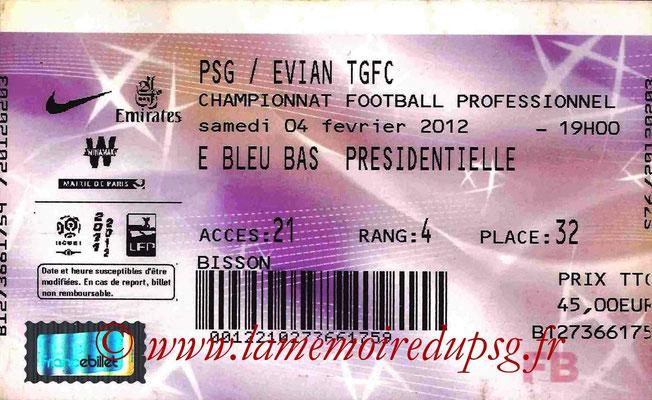 Tickets  PSG-Evian  2011-12
