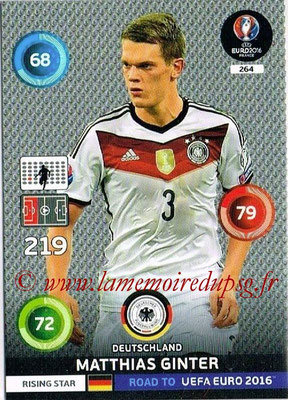 Panini Road to Euro 2016 Cards - N° 264 - Matthias GINTER (Allemagne) (Rising Star)
