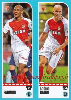 2016-17 - Panini Ligue 1 Stickers - N° 472 + 473 - FABINHO + Andrea RAGGI (Monaco)