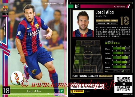 Panini Football League 2015 - PFL11 - N° 027 - Jordi ALBA (FC Barcelone)