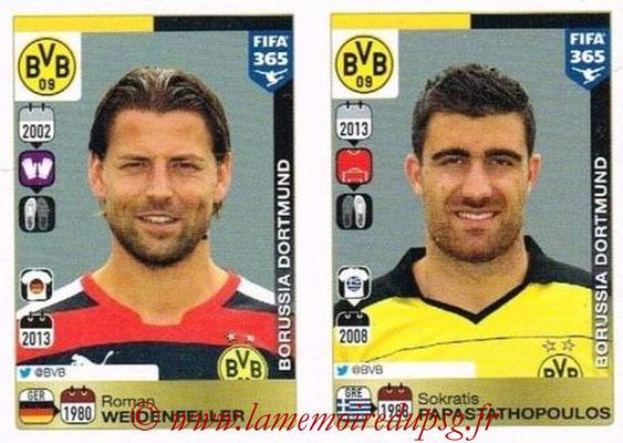 2015-16 - Panini FIFA 365 Stickers - N° 492-493 - Roman WEIDENFELLER + Sokratis PAPASTATHOPOULOS (Borussia Dortmund)