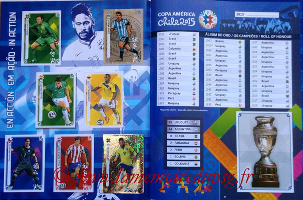 Panini Copa America Chile 2015 Stickers - Pages 46 et 47 - En action et Palmarès