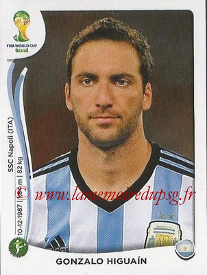 2014 - Panini FIFA World Cup Brazil Stickers - N° 429 - Gonzalo HIGUAIN (Argentine)
