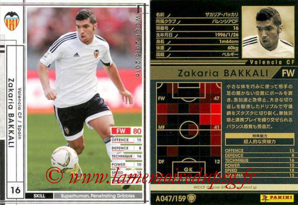 2015-16 - Panini WCCF - N° A047 - Zakaria BAKKALI (Valence FC)