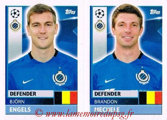 2016-17 - Topps UEFA Champions League Stickers - N° BRU 8-9 - Brandon MECHELE + Björn ENGELS (Club Bruges)