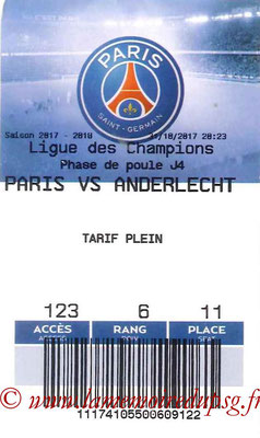 Tickets  PSG-Anderlecht  2017-18