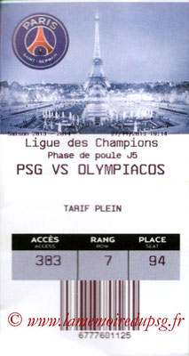 Tickets  PSG-Olympiakos  2013-14