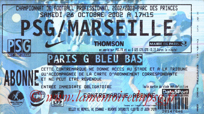 Tickets  PSG-Marseille  2002-03