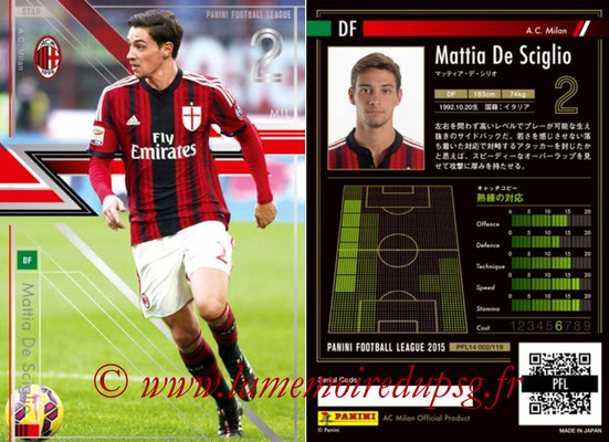 Panini Football League 2015 - PFL14 - N° 002 - Mattia DE SCIGLIO (Milan AC) (Star)