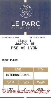 Tickets  PSG-Lyon  2015-16