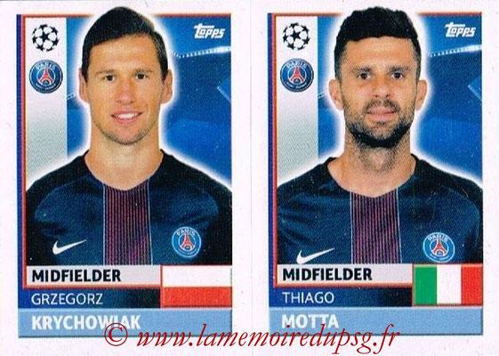 2016-17 - Topps UEFA Champions League Stickers - N° PSG 12-13 - Thiago MOTTA + Grzegorz KRYCHOWIACK (Paris Saint-Germain)