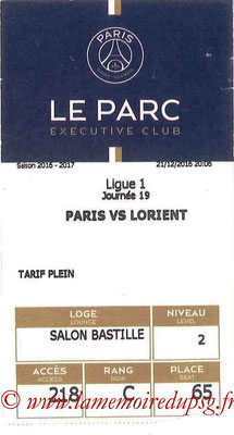 Tickets  PSG-Lorient  2016-17