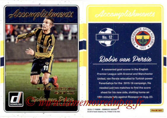 2016 - Panini Donruss Cards - N° A12 - Robin VAN PERSIE (Fenerbahce SK) (Accomplishments)