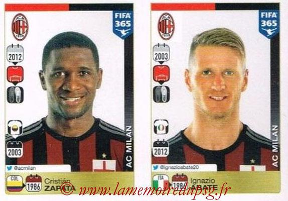 2015-16 - Panini FIFA 365 Stickers - N° 586-587 - Cristián ZAPATA + Ignazio ABATE (Milan AC)