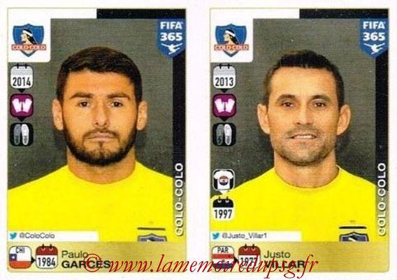 2015-16 - Panini FIFA 365 Stickers - N° 222-223 - Paulo GARCES + Justo VILLAR (Colo Colo)