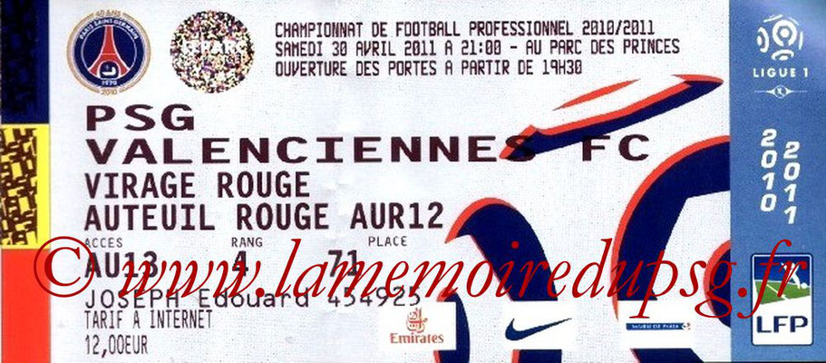 Tickets  PSG-Valenciennes  2010-11