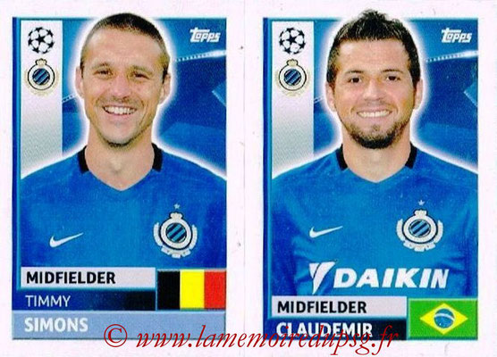 2016-17 - Topps UEFA Champions League Stickers - N° BRU 10-11 - CLAUDEMIR + Timmy SMONS (Club Bruges)