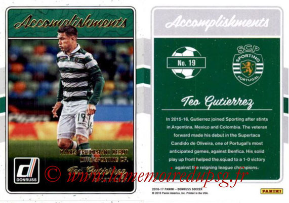2016 - Panini Donruss Cards - N° A19 - Teo GUTIERREZ (Sporting CP) (Accomplishments)