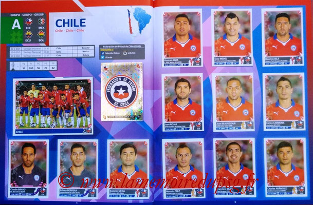 Panini Copa America Chile 2015 Stickers - Pages 04 et 05 - Chili