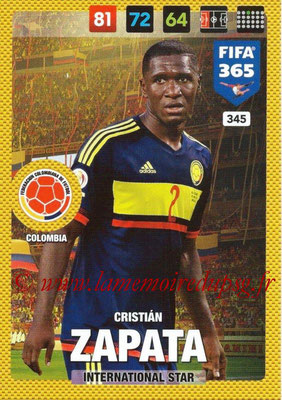 2016-17 - Panini Adrenalyn XL FIFA 365 - N° 345 - Cristian ZAPATA (Colombie) (International Star)