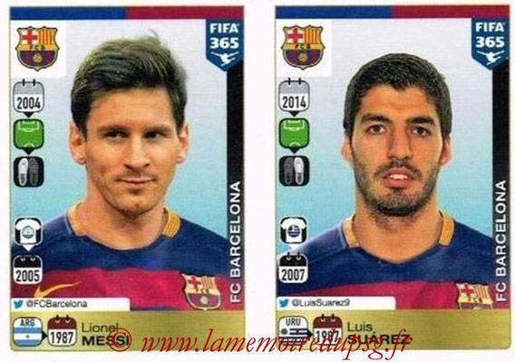 2015-16 - Panini FIFA 365 Stickers - N° 367-368 - Lionel MESSI + Luis SUAREZ (FC Barcelone)