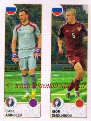 Panini Euro 2016 Stickers - N° 156 - Igor AKINFEEV + Igor SMOLNIKOV (Russie)