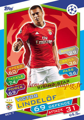2016-17 - Topps UEFA Champions League Match Attax - N° BEN7 - Victor LINDELOF (SL Benfica) (Rising Star)