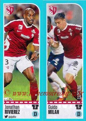 2016-17 - Panini Ligue 1 Stickers - N° 430 + 431 - Jonathan RIVIERE + Guido MILAN (Metz)