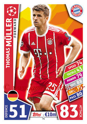 2017-18 - Topps UEFA Champions League Match Attax - N° 071 - Thomas MÜLLER (FC Bayern Munich)