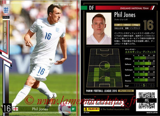 Panini Football League 2015 - PFL11 - N° 083 - Phil JONES (Angleterre)