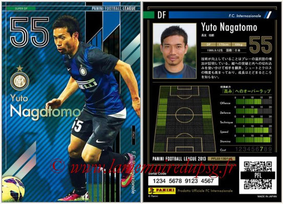 Panini Football League 2013 - PFL03 - N° 130 - Yuto Nagatomo (Inter Milan) (Super DF)