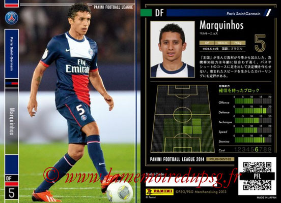 Panini Football League 2014 - PFL06 - N° 065 - MARQUINHOS (Paris Saint-Germain)