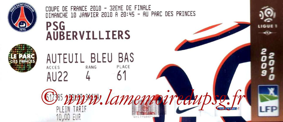Tickets  PSG-Aubervilliers  2009-10