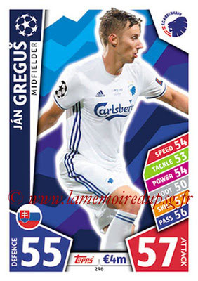 2017-18 - Topps UEFA Champions League Match Attax - N° 298 - Jan GREGUS (FC Copenhague)